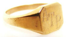 """10K YELLOW GOLD RING w. """"ATB"""" INITIALS"""