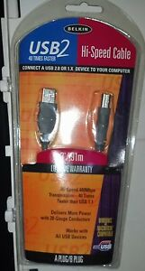 Belkin  USB2 Hi-Speed Cable 3'/.91m A Plug/B Plug Computer Cables