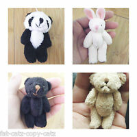 "DOLLS HOUSE SMALL TINY JOINTED TEDDY BEAR PANDA RABBIT CRAFT GIFT IDEA 2.4"" - 3"""
