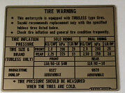 SUZUKI RG250 TYRE CAUTION WARNING DECAL LABEL