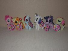 "NEW Lot 6 My Little Pony HASBRO Mini Clip-On 4.5"" PLUSH Keychain Ponies Small"