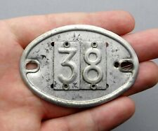 Vintage Aluminum Plate. Number 38. Door, Mailbox, Car, Industrial. French Plaque