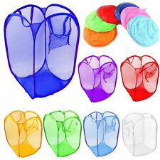 New Laundry Foldable Basket Pop Up Clothes Washing Bag Bin Hamper Mesh Storage