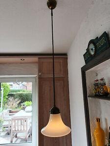 Berliner Messinglampe Schnurpendelleuchte Deckenleuchte Lampenschirm opalweiß