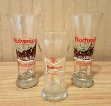 (Lot of 3) Vintage 1989 Budweiser Beer Clydesdale Bow Tie Beer Drinking Glasses