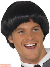 Mens Swinging 60s Black Bowl Wig Adults 1960s Beatles Fancy Dress Accessory