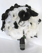 17 piece package Wedding Bouquets Bridal Silk Flower WHITE BLACK CALLA Lily