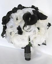 17 pc package Wedding Bouquets Bridal Silk Flower bouquet WHITE BLACK CALLA Lily