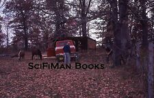 KODACHROME 35mm Slide Farm Men Old Ford Truck Horses Shed Trees Leaves 1974!!!