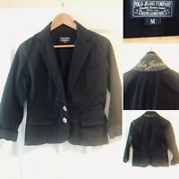 New POLO Ralph Lauren Black Blazer Jacket Cropped Coat Cotton Size M Uk 12 Us 8