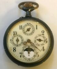 RARE Antique Swiss Calendar Pocket Watch Separate Dials Day/Date/Month/MoonPhase