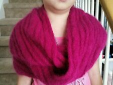 hand-knitted long hair Angora Goats cashmere infinity scarf(super soft and warm)