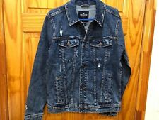 Hollister Men Ripped Stretch denim jeans jacket New With Tag size M Medium Wash