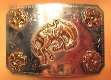 Beautiful OLD RICARDO Cowboy BUCKING HORSE Nickel Silver BELT BUCKLE Make Offer