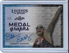 "RAREST 2015 LEAF LEGENDS SUMMER SANDERS ""PURPLE"" AUTOGRAPH 1/1 CARD ~ SWIMMING"