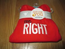 """NWT BOYS CARTER'S JUST ONE YOU """"MR. RIGHT"""" RED LONG SLEEVE BODYSUIT SIZE: 3MOS"""
