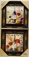 Wine bottles poppies two ceramic tiles wall art plaque metal frame trivets NIB