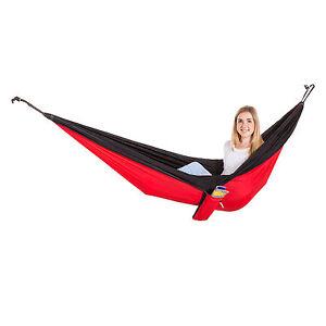 Adventurer Single Outdoor Garden Camping Hammock Seat Bed - Red & Black
