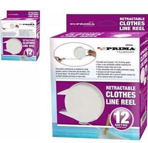 12m Retractable Automatic Clothes Washing Line Reel Indoor Outdoor Wall Mounted