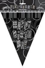 Glitz Black & Silver Happy Birthday Bunting Flag Banner 3.65m (12')   .55310