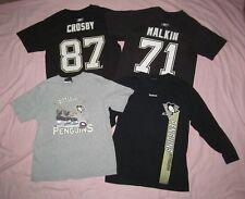 Pittsburgh Penguins Youth M Med Lot 4 T shirts Crosby Malkin Logo & long sleeve