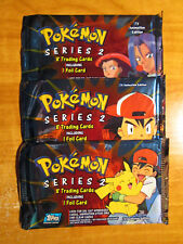 3x SEALED Pokemon TOPPS SERIES-2 Booster Card Pack From Box Complete Artwork TCG