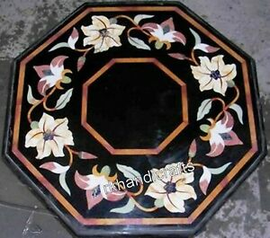 Floral Border Art Coffee Table Top Octagon Marble Bed Side Table Size 18 Inches