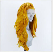 Full Head Long Body Wavy Lace Front Wig Minit Yellow Synthetic Hair Handtied Wig