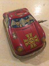 Vintage Tin Child Wind Up Toy Red Fire Chief Car
