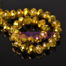 NEW Half Plated Rondelle Faceted Crystal Glass Loose Spacer Beads Lot Bulk 4mm