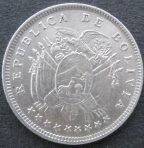 Bolivia 20 centavos 1909 AU-UNC #12