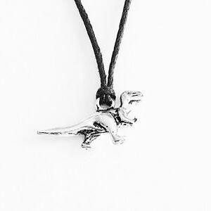 Cute Dinosaur Charm Pendant Choker Necklace with Black Cord