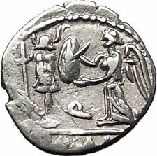 Roman Republic 97BC Quinarius Apollo Victory Trophy Ancient Silver Coin i55496