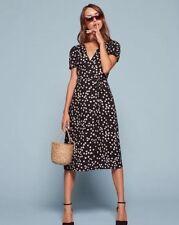 NWT Reformation Addy Wrap Dress Garland Floral Black Size XS $218