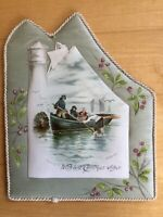 Antique 1890 Nautical Christmas Card Lighthouse Sails Fishing Boat T.R. Kennedy