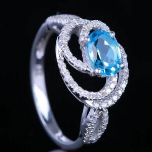 10K White Gold Diamonds Oval Cut Swiss Blue Topaz Engagement Ring Pave Setting