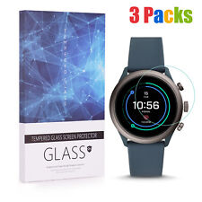 3 Packs 9H Tempered Glass Screen Protector for Fossil Sport Smartwatch 43mm Case