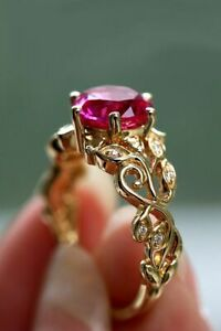 Women's 2 Ct Round Cut Ruby Ring 14K Yellow Gold Over Vintage Ring