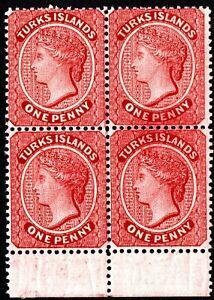 TURKS ISLANDS QV 1883-89 MARGIN MNH BLOCK-4 1P CARMINE ORI POORGUM CAT VAL $240/