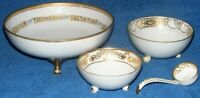 Antique Morimura Hand Painted Nippon White & Gold Ladle & 3 Footed Bowls