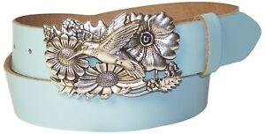 FRONHOFER Women's genuine leather belt, silver hummingbird buckle, bird belt