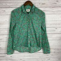 Holding Horses Anthropologie Isla Button Down Shirt Top Size 2 Green Floral