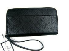 Nine West Women's Kiana SLG Zip Around Wallet Black/Black MM New NWT