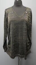 DKNY JEANS Black Gold Metallic Long Sleeves V Neck Sweater Sz 14 / 16 W FF6211