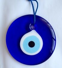 TURKISH BLUE EVIL EYE GLASS LUCKY AMULET CHARM, NAZAR BONCUGU  10 CM