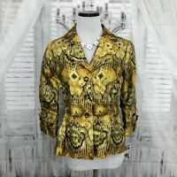 Sharon Young Womens Size 2 Yellow Brown Clasp Jacket Blazer 3/4 Sleeve Lined B19