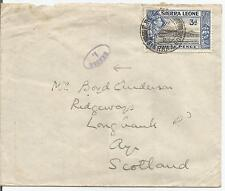 SIERRA LEONE  1940's KING GEORGE VI 3d BLUE ON COVER TO AYR SCOTLAND REF 403