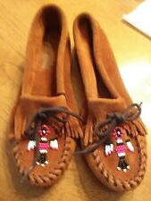 New Minnetonka beaded Dark Brown Suede Womens Moccasins 9