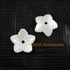 100Pcs Pearl White Plastic Acrylic Star Flower Spacer Beads end Caps 12mm