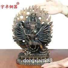29 cm Tibetan Bronze Mahakala Yamantaka vajradhirava god of wealth Buddha Statue